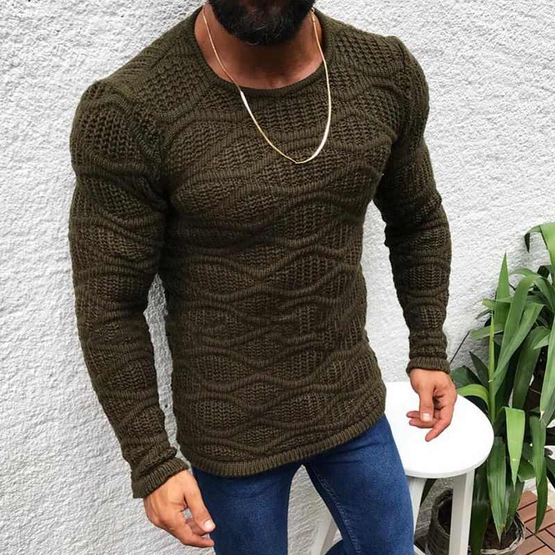Litthing 2019 New  Pullover Sweaters Men Casual Neck Autumn Winter Casual Slim Fit Long Sleeve Cable Knitwear Sweater Pullover