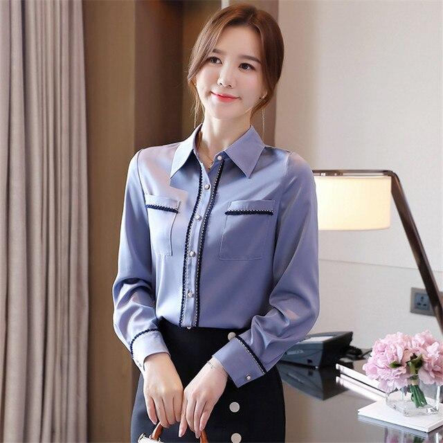 Korean Women Shirts Woman Shirt and Blouse Office Lady Beading Blouses Shirts Women Long Sleeve Satin Shirt Tops Plus Size XXL 3