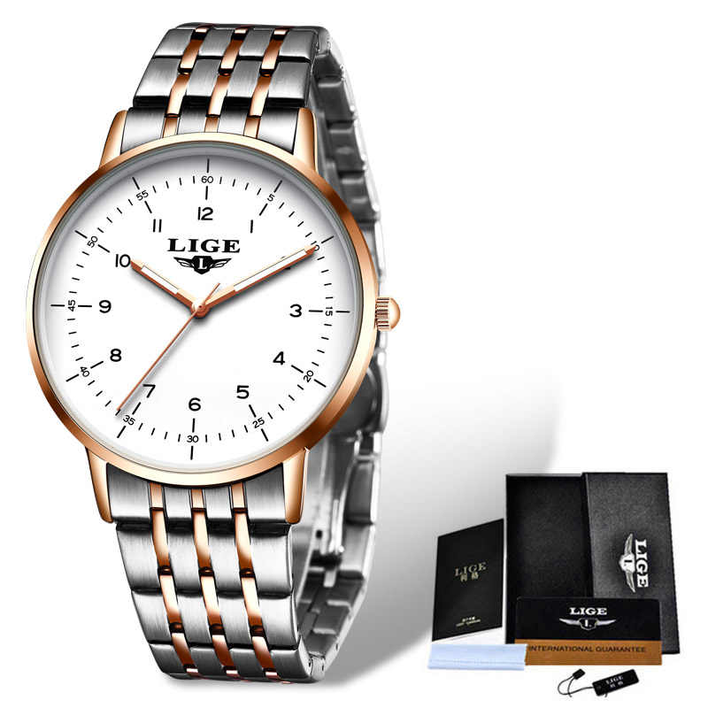 LIGE 2020 ใหม่นาฬิกาผู้หญิงนาฬิกาสุภาพสตรีสร้างสรรค์เหล็กสร้อยข้อมือสตรีนาฬิกาผู้หญิงนาฬิกากันน้ำRelogio Feminino