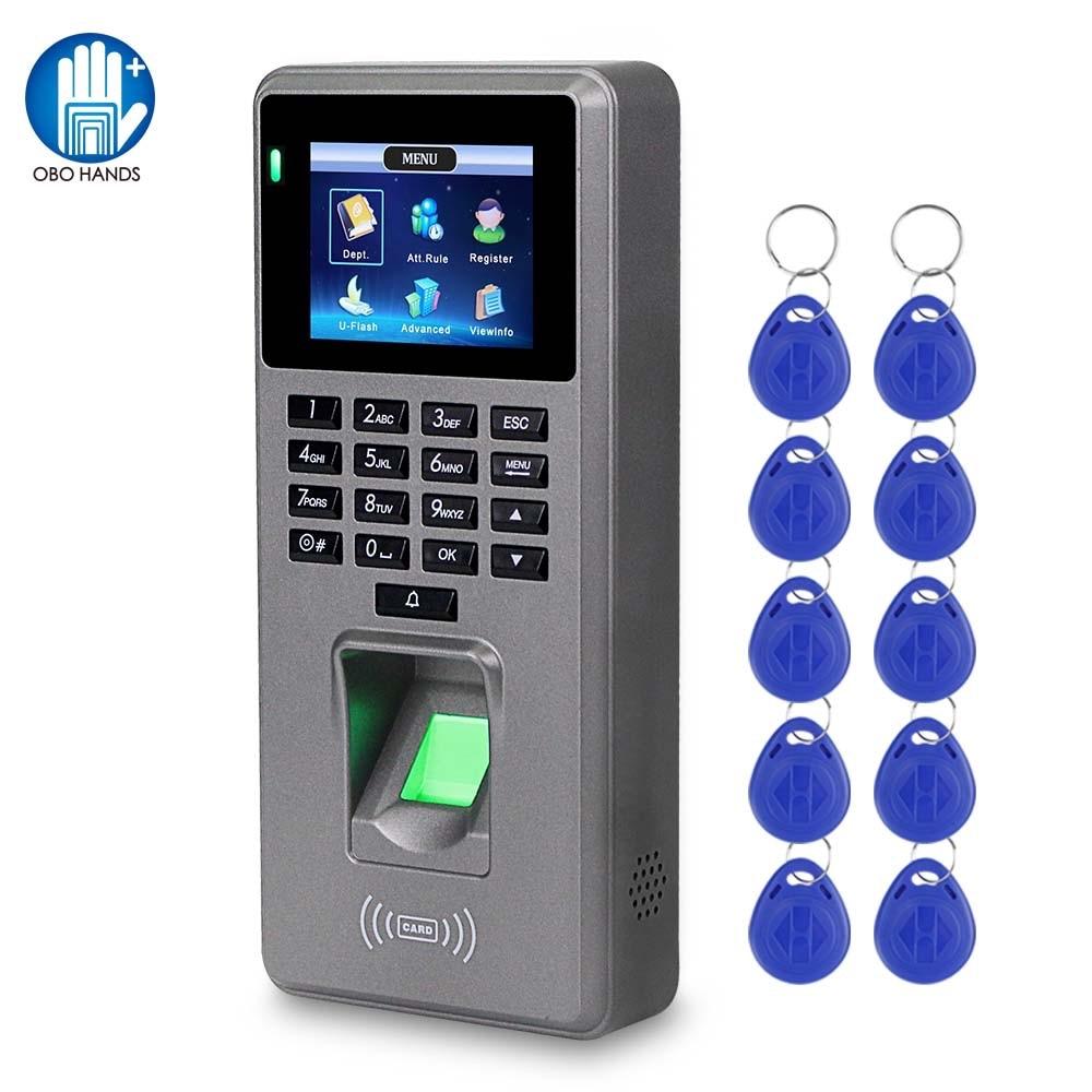 Fingerprint Access Control Attendance Machine Password Employee Checking-in Time Clock Recorder RFID Door Controller USB Offline