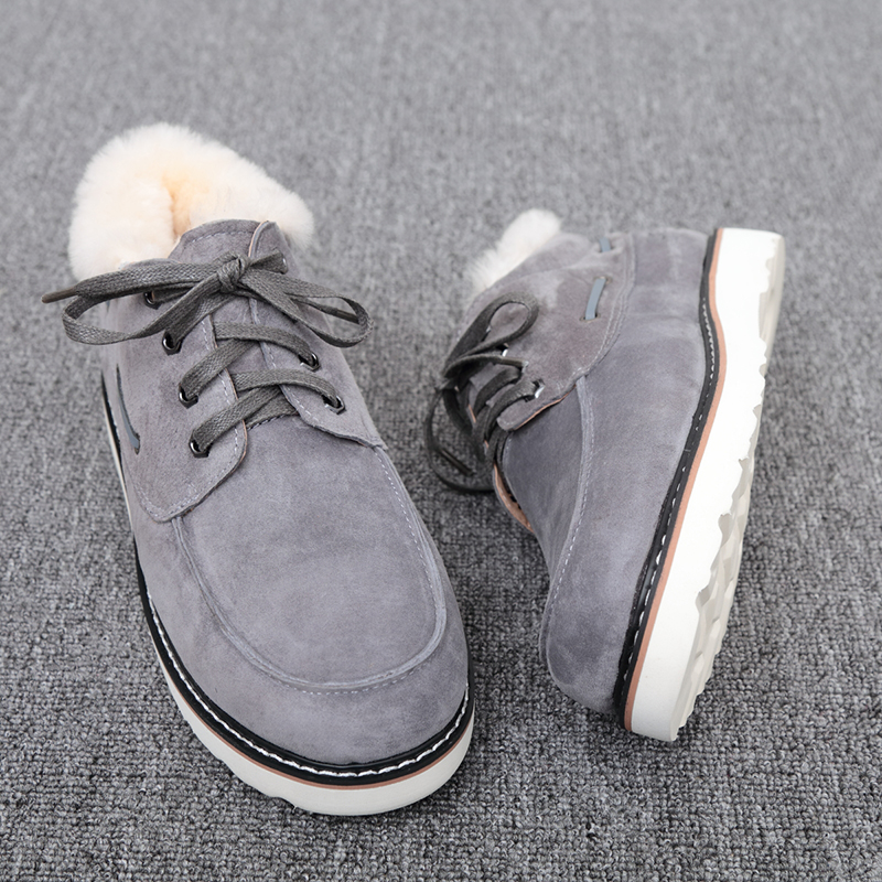 Top Quality Fashion Beckham snow boots for men lace up winter shoes real sheepskin leather nature wool fur ankle short boots - 4