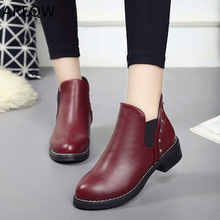 New 2019 Women Ankle Boots Flock Plus Size Autumn Winter Shoes