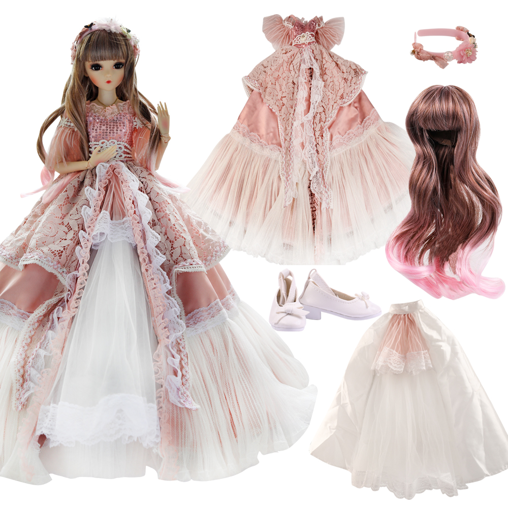 UCanaan Palace Style Clothes Set For 1/3 BJD Dolls Girls Dress UP Toys Accessories Full Outfits Clothes Wig Shoes