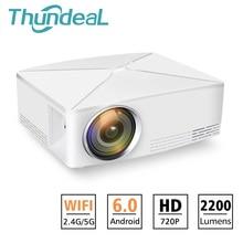 Thundeal td80 mini projetor led 1280x720 portátil hd hdmi vídeo c80 3d lcd c80 up android wifi c80up beamer casa cinema