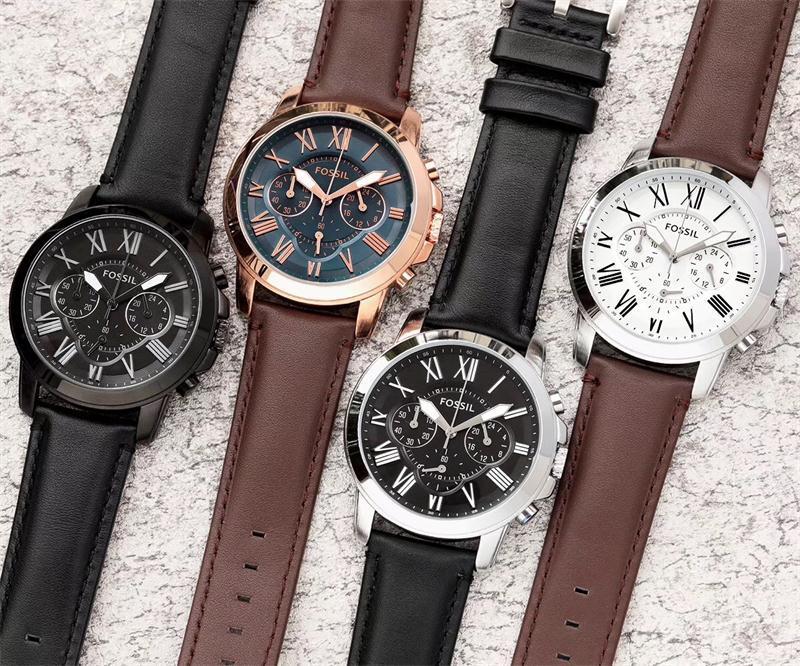 Reloj fósil de cuarzo para hombre, reloj de pulsera con cronógrafo deportivo para hombre con correa de cuero, reloj de cuarzo para pareja de hombres y mujeres