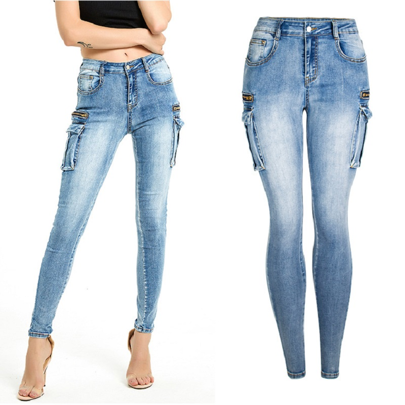 Skinny Push Up Ladies Jeans Plus Size High Waist Elastic Denim Pants Distressed Women Promotion 2019 Autumn Fashion Dropshipping