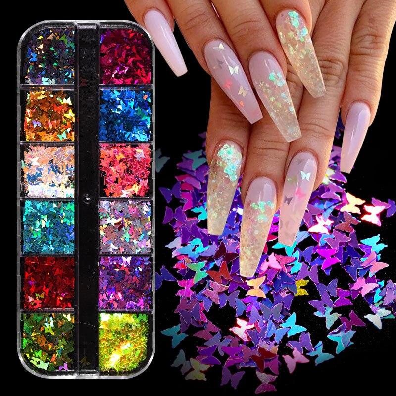Зеркальные Блестящие бабочки для ногтей Блестки для ногтей блестящие хлопья блестки разные цвета DIY Бабочка окунание порошок для акриловых...