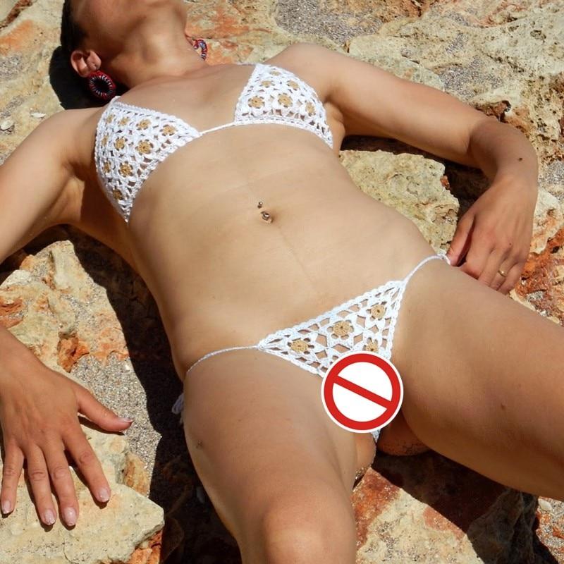 12 Color Hand Crochet Sunbathing Mini Bikini Applique Women Sexy Micro Swimwear Lingerie Sets