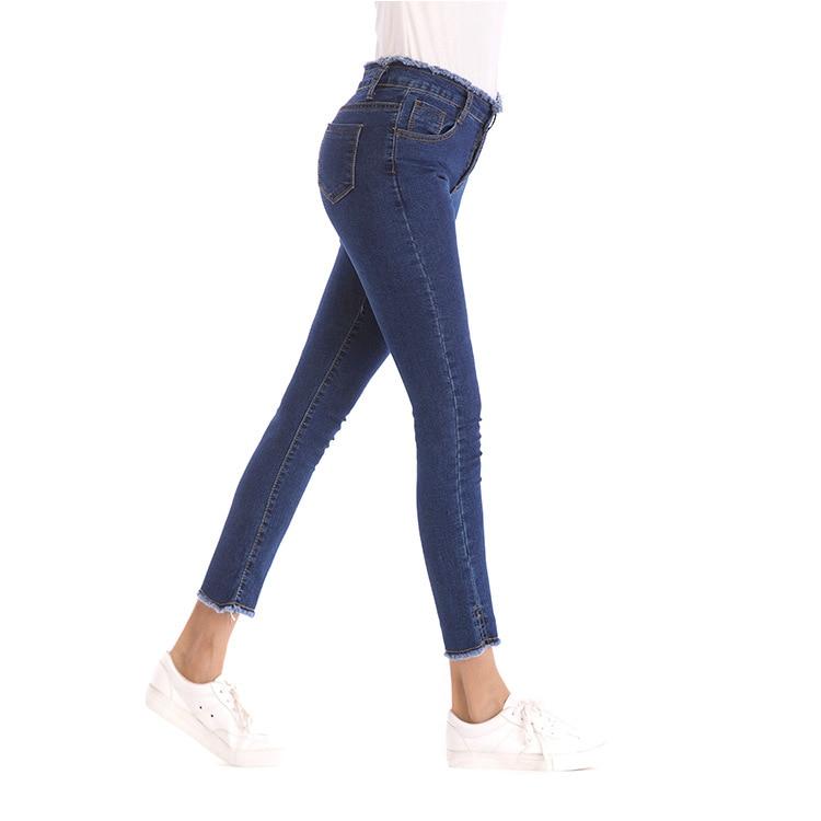 2019 nouveau mode décontracté Denim crayon pantalon femmes Sexy taille élastique gland effiloché Jeans grande taille