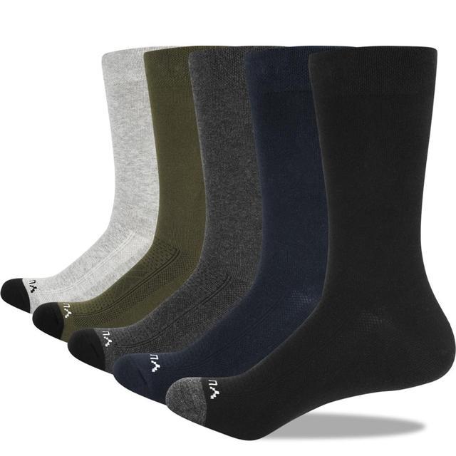 YUEDGE Mens Socks Breathable Combed Cotton Crew Casual Dress Socks Summer Socks 5 Pairs 37 46 EU