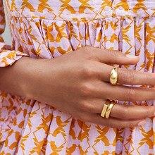 الحد الأدنى الذهب اللون خواتم مكتنزة العصرية هندسية دائرة دائرية خواتم للنساء سميكة الذهب كومة خواتم مجوهرات الزفاف الإناث