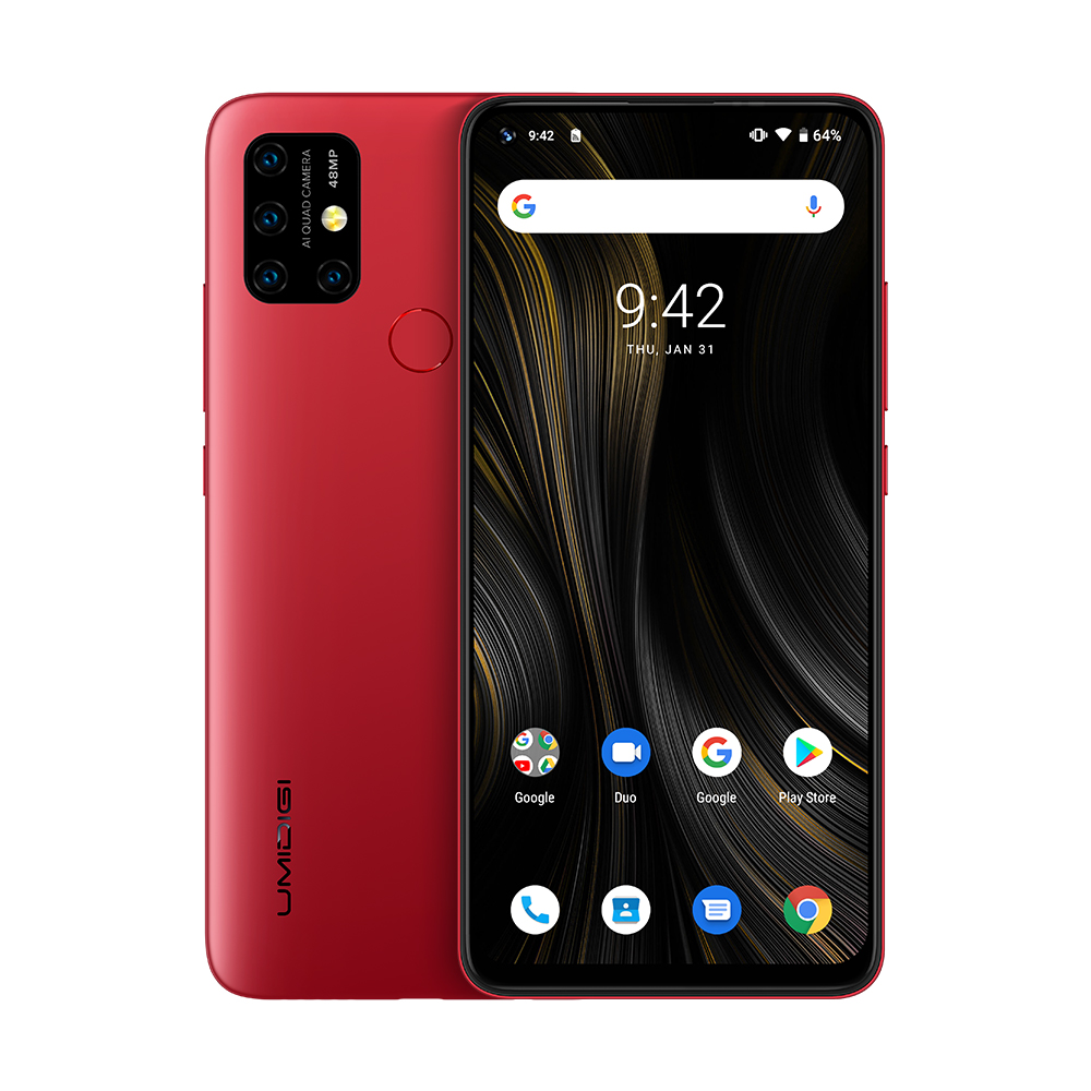 "UMIDIGI power 3 Android 10 48MP Quad AI камера 6150 мАч 6,5"" FHD+ 4 Гб 64 Гб Helio P60 глобальная версия смартфон NFC предпродажа - Цвет: Red"