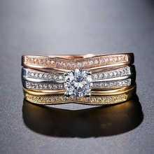 Изысканный 3 цвет серебро/золото/розовое золото свадебное кольцо набор обручальное обещание невесты ювелирных изделий подарок для женщин
