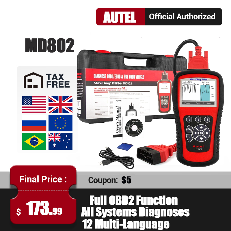 AUTEL Diaglink MD802 OBD2 Scanner All System Car Diagnostic Tool OBD2 Code Reader Engine ABS Airbag Transmission PK MD806 CRP129|Code Readers & Scan Tools| - AliExpress