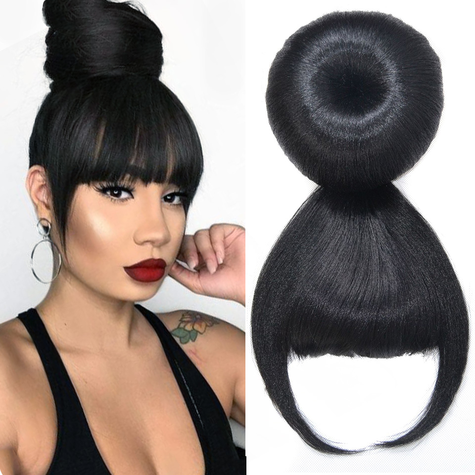 HOUYAN Synthetic African wig Bun head and Bang hair heat-resistant fiber ponytail wig for women in hair extension