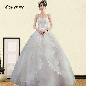 Boho Wedding Dress GR690 Strapless Spaghetti Strap Wedding Gowns Plus Size Vestidos De Novia Tiered Pleat Wedding Dresses