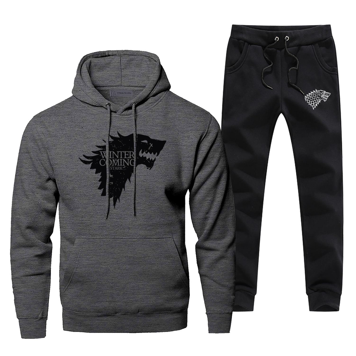 Hoodies Pants Set Men Game Of Thrones Hoodie Sweatshirt Men Hoodies House Stark Wolf Pollover 2 Pcs Streetwear Male Sweatshirts