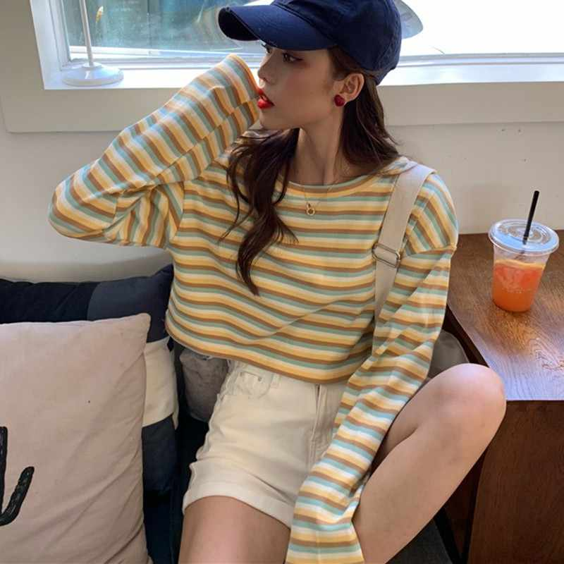 Harajuku Korea Manis T-shirt Lengan Panjang Bergaris Teman Kawaii Musim Gugur Musim Dingin Wanita Kasual Dasar Hal Yang Aneh