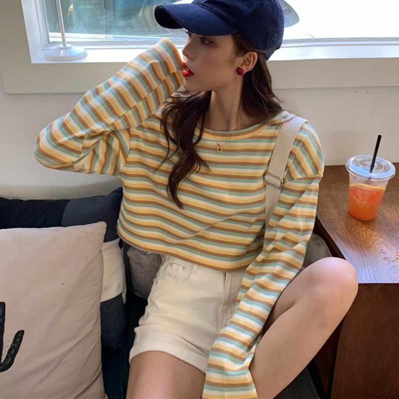 Harajuku Корейская Милая футболка с длинным рукавом полосатые друзья Kawaii осень зима женские Повседневные базовые странные вещи