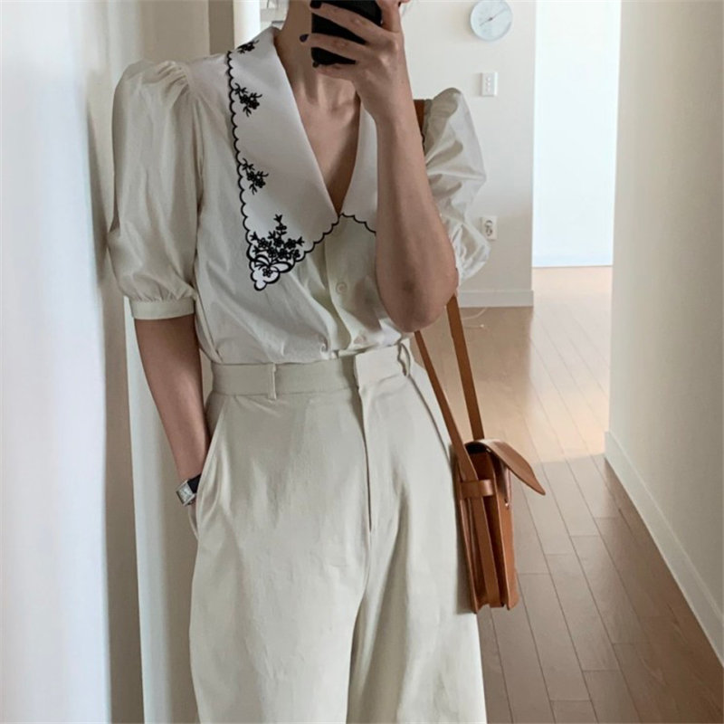 Hzirip All-Match Thin Embroidery High Quality Casual Fashion 2020 Short Sleeves Streetwear Chic Office Lady High Waist Shirts
