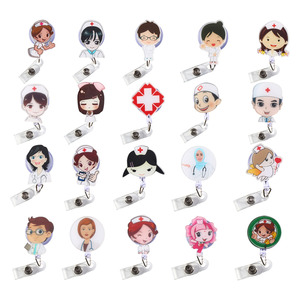 High Quality 1Pcs Doctors Nurse Office Retractable Pull Badge ID Lanyard Name Tag Card Badge Holder Key Ring Chain Clips