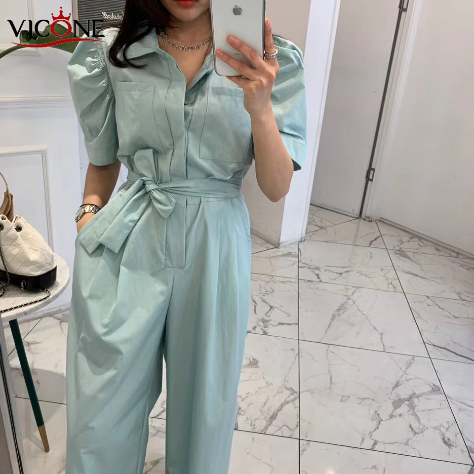 VICONE Top Quality 100% Cotton Jumpsuits 2020 New Hubble-bubble Sleeve With High Waist Waist Thin Jumpsuits