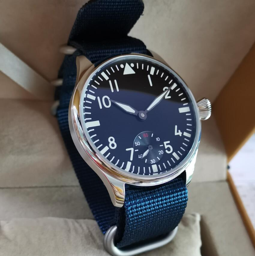 GEERVO No Logo Pilot Manual Mechanical Men's Watch 44mm Black Dial White Number Blue Nylon Strap Mineral Glass Or Sapphire G135