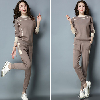 Winter High Quality Women Casual Knitted Sportsuit 2 Piece Set Long Sleeve O Neck Pullover Sweater+Elastic Waist Long Pant Set autumn high quality knitting 2 piece suite women long sleeve sweater pullover elastic waist knitted skirt female sweater suit