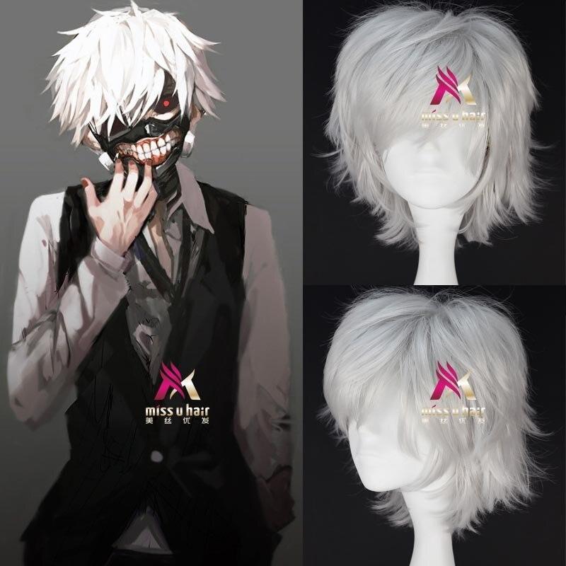 Wigs Tokyo Ghoul Kaneki Ken Wig Short Straight Silver Grey Synthetic Hair Cosplay Anime Wigs Heat Resistance Fiber +wig Cap