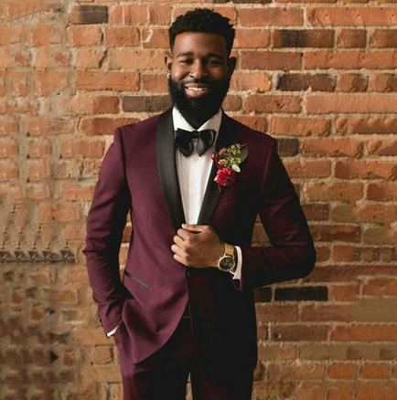 2020 Classic Slim Fit Burgundy Groom Tuxedos Men Suits for Wedding Men Blazers Party Male Jacket Costume 2Piece