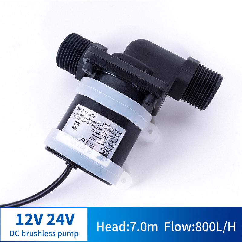 12V 24V DC Brushless Water Pump Silent 4 Points Threaded Solar Water Heater Shower Floor Heating Booster Pump IP68