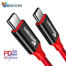 Tiegem USB Type C to USB Type C Cable for Samsung Galaxy S9 Plus PD 60W QC3.0 3A Quick Charge Cable for Type-C Devices C TO C(China)