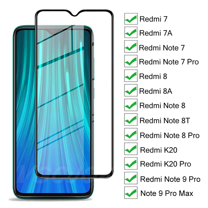 9H Hardness Tempered Glass For Xiaomi Redmi 7 7A 8 8A K20 Screen Protector For Redmi Note 7 8 9 Pro Max 8T Protective Glass Film