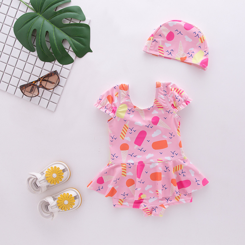Girl'S One-piece Swimming Suit Cute Pink Ice Cream With Cap-Children Hot Springs Bathing Suit