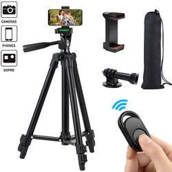 Phone Tripod 50-inch/125cm Lightweight Tripod Stand with Phone Holder & Remote, Tripod for Phone/GOPRO/Camera