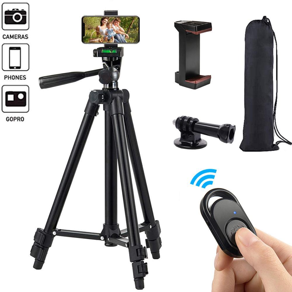 Tripé de telefone 50 polegadas/125cm leve tripé com suporte de telefone & remoto, tripé para iphone/gopro/câmera