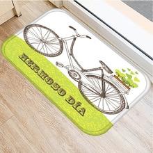 Estera antideslizante con estampado de bicicleta para el hogar alfombra decorativa para dormitorio, cocina, sala de estar, suave, antideslizante