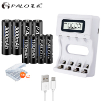 PAlO Trave USB Charger Smart LCD Intelligent Rechargeable Battery Charger For Ni Cd Ni Mh AA/AAA Battery+4pcs AA+4pcsAAA Battery|aaa battery|battery charger|battery aa rechargeable -