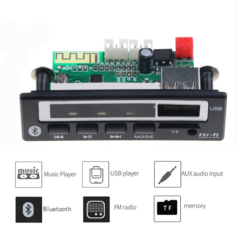 Bluetooth 5.0 MP3 Player Music Wireless Receiver Audio Decoder Module USB TF FM Radio MP3 Decoding Board For Car Accessories DIY