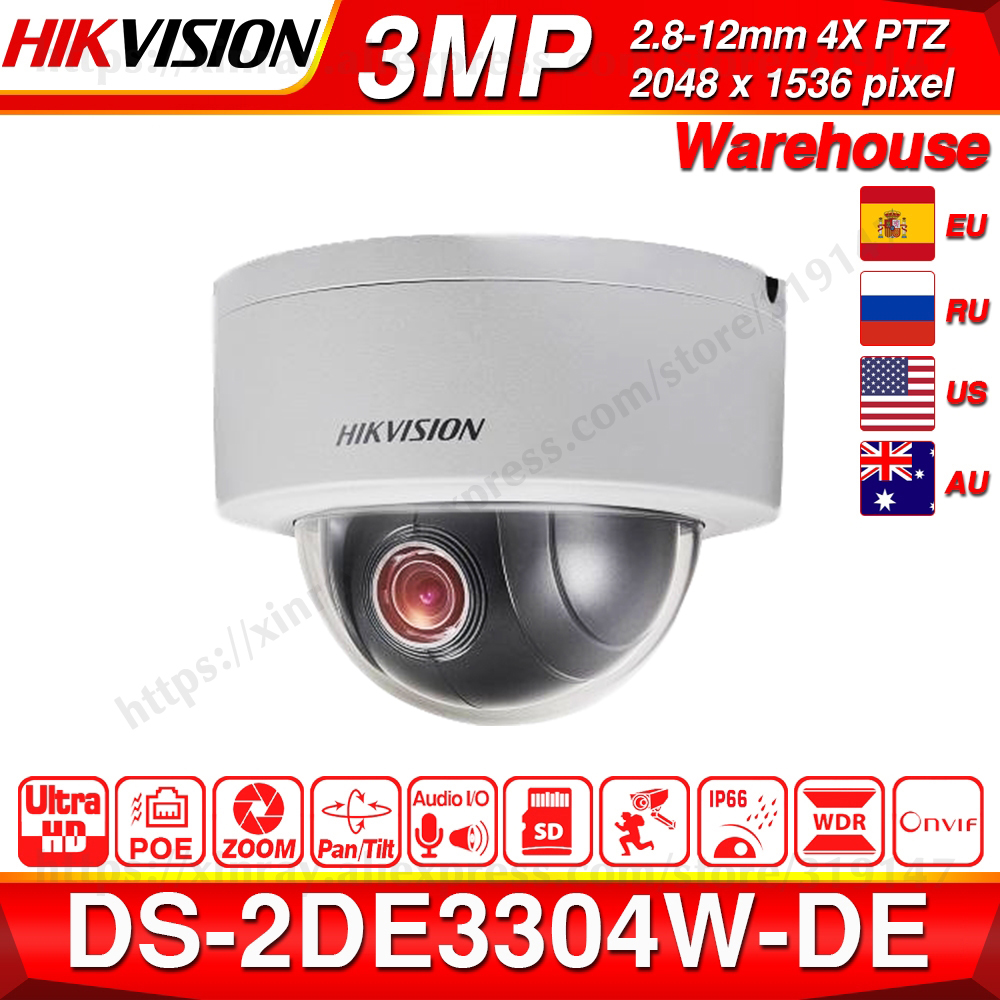 Hikvision Original PTZ Cam DS-2DE3304W-DE 3MP IP Network Mini Dome Camera 4X Optical Zoom 2-way Audio Support Ezviz Remote View.