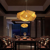 Bamboo Wicker Rattan Cloud Shade Pendant Light Fixture Japanese Tatami Hanging Ceiling Lamp Plafon Lustre Avize Luminaria Design