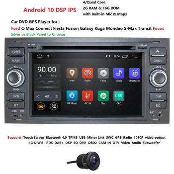 Car Multimedia Player Android 10.0 GPS 2 Din Car Radio Audio Auto For Ford/Mondeo/Focus/Transit/C-MAX Bluetooth Rear View Camera image
