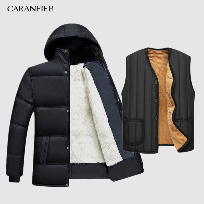 CARANFIER 2019 Hot Fashion Hooded Winter Coat Men Thick Warm Mens Winter Jacket Father's Gift   Parka   Warm -15 degrees