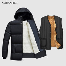 CARANFIER 2019 Hot Fashion Hooded Winter Jas Mannen Dikke Warme Heren Winterjas Vader Gift Parka Warm-15 graden(China)