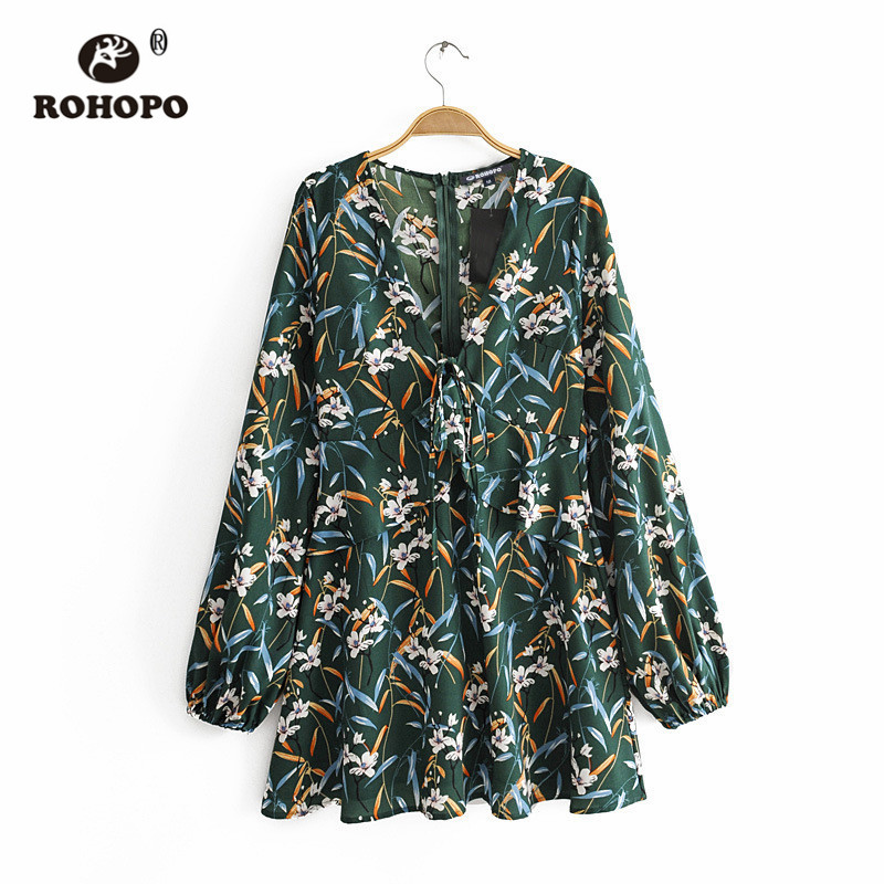 ROHOPO Orchid Floral Long Sleeve Baggy Pleated Hem Women Autumn Green Dress Chiffon Chic #9849