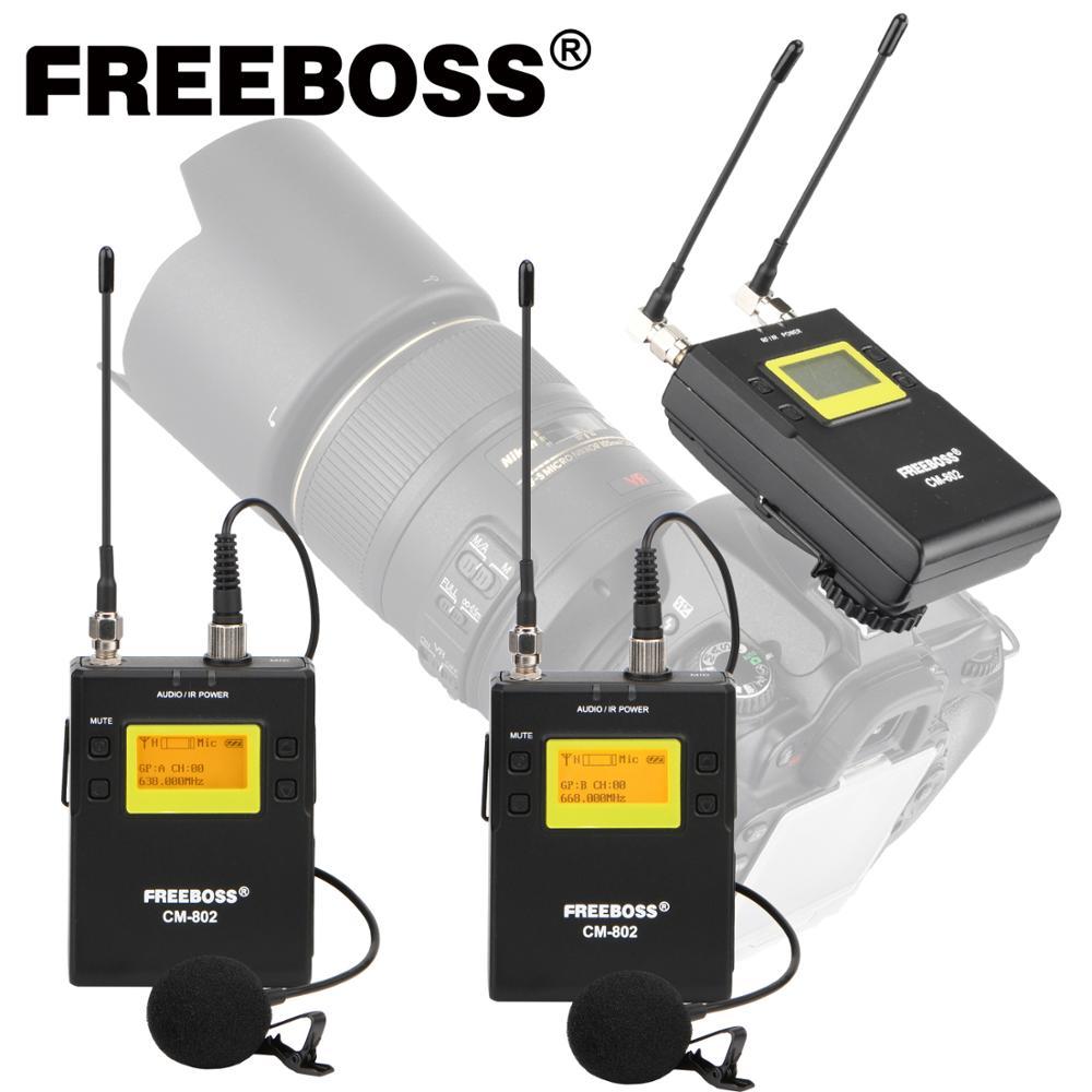 FREEBOSS CM-800 серии поясной передатчик поясной приемник многочастотный Камера речи Vlog интервью Беспроводной микрофон