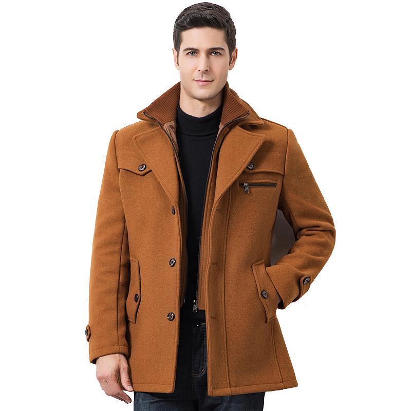 Winterjas Man Casual Wool Trench Coat Fashion Business Men's Coat Thicken Slim Windbreaker Overcoat Jacket Male Plus Size 5XL