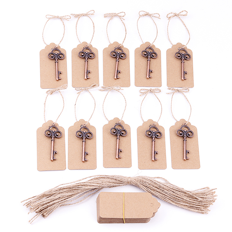 50pcs DIY Wedding Decoration Vintage Key Bottle Opener With Personalized Name Or Thank You Paper Tags Wedding Favors And Gifts
