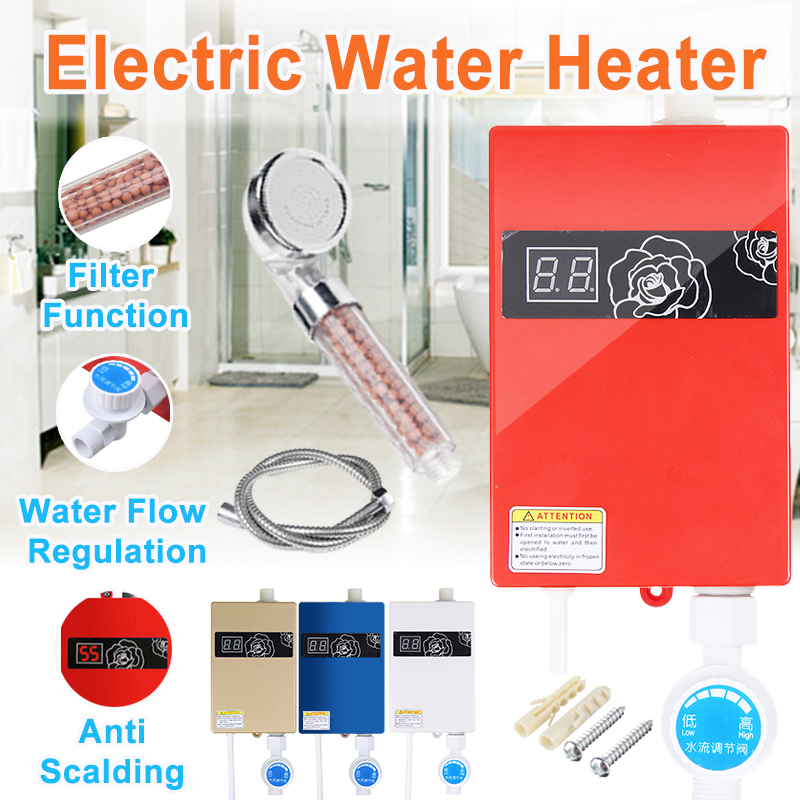 Universal 300W Electric Water Heater Instant Tankless Water Heater 220V 3KW Temperature Display Heating Shower +Shower Nozzle