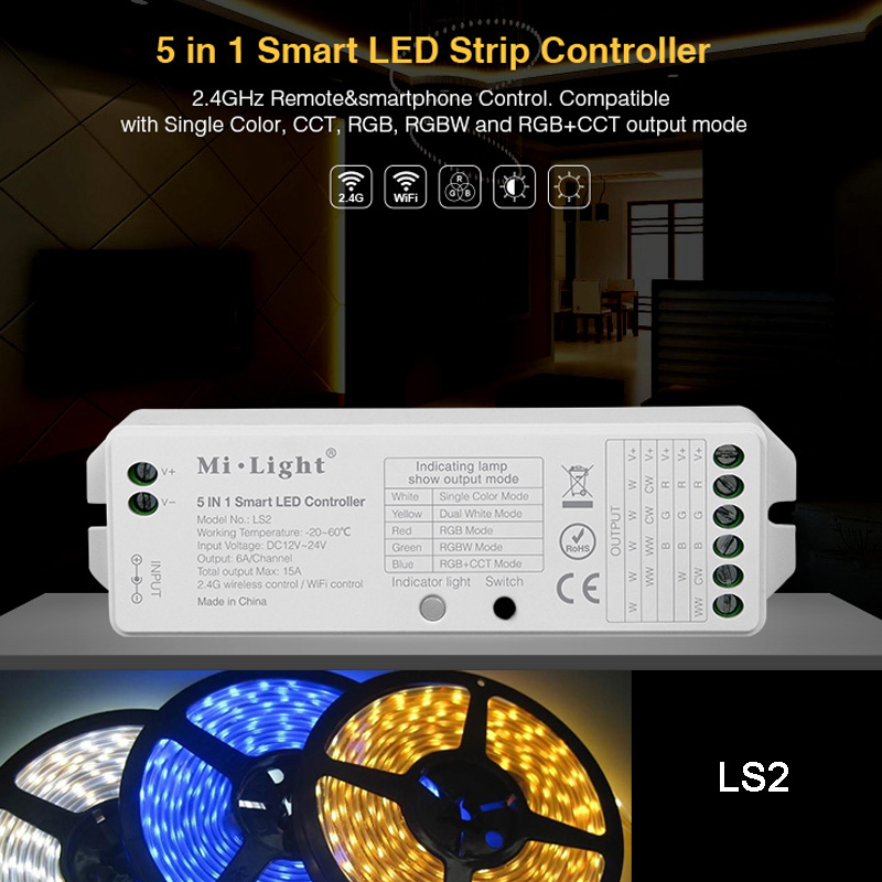 MiBOXER Wallmounted RGB+CCT 2.4G Wireless 8 Zone Remote Touch Panel LS2 5IN 1 Smart Led Strip Controller FUT089//B8/WL-Box1